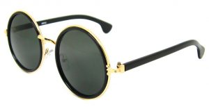 Black and Gold Circle Sunglasses