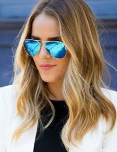 Blue Mirrored Lens Sunglasses