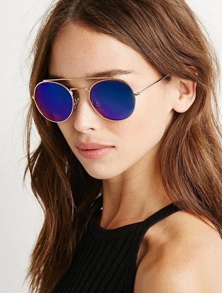 Round Reflective Sunglasses  blue mirrored sunglasses top sunglasses