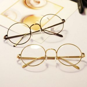 Gold Rimmed Round Sunglasses