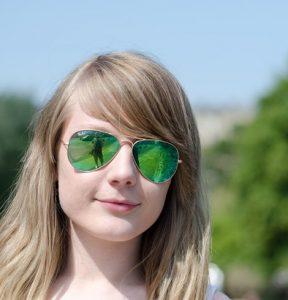 Green Mirrored Aviator Sunglasses