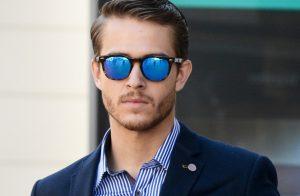 Mens Blue Mirrored Sunglasses