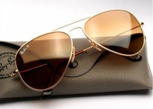 Mens Gold Aviator Sunglasses