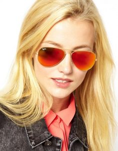 Orange Mirrored Aviator Sunglasses