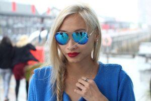 Oversized Blue Mirrored Sunglasses