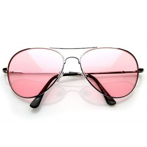 Pink Tinted Aviator Sunglasses