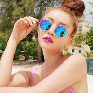 Round Blue Mirrored Sunglasses