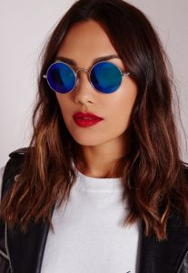 Round Blue Mirrored Sunglasses