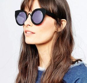 Round Cat Eye Mirrored Sunglasses