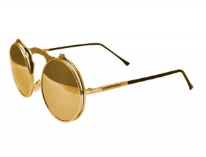 Round Flip Up Sunglasses Gold