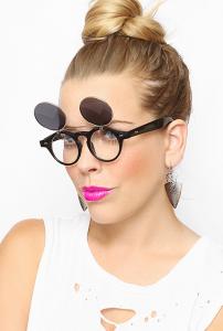 Round Flip Up Sunglasses Images