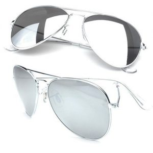 Silver Aviator Sunglasses with Silver Mirrored Lens