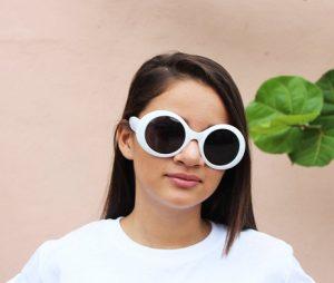 White Round Sunglasses Photos