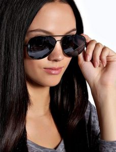 Womens Black Aviator Sunglasses