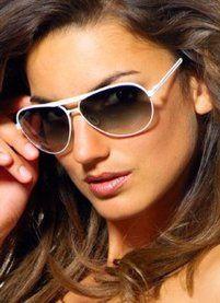 White Aviator Sunglasses Women