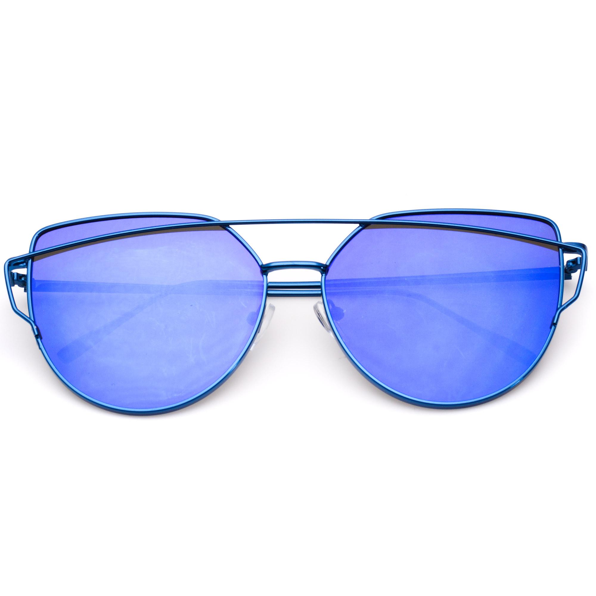 77e7ac488b7 Blue Cat Eye Aviator Sunglasses
